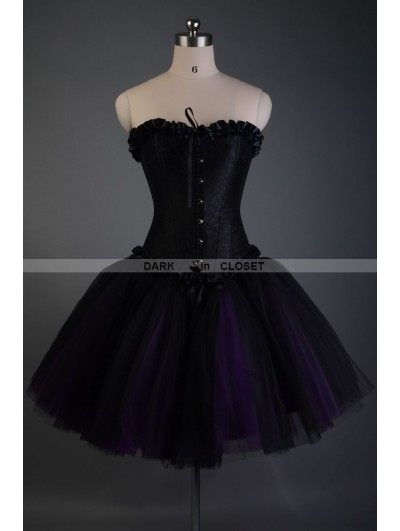 Black and Purple Short Gothic Corset Burlesque Prom Party Dress