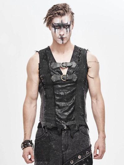 Devil Fashion Black Gothic Punk Irregular Buckle Vest Top for Men