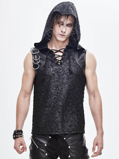 Devil Fashion Black Gothic Punk Sleeveless Hooded T-Shirt for Men