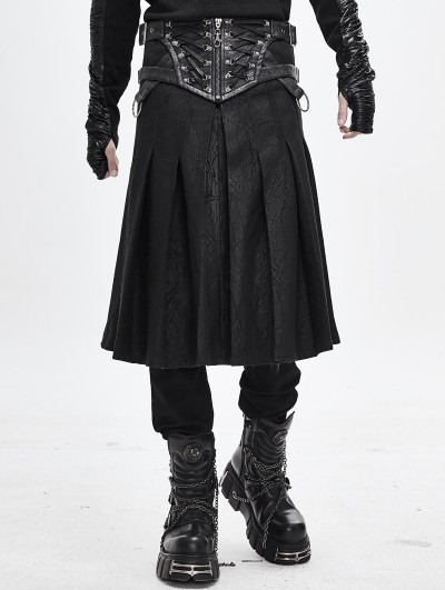 Devil Fashion Black Gothic Punk Pleated Half Skirt for Men