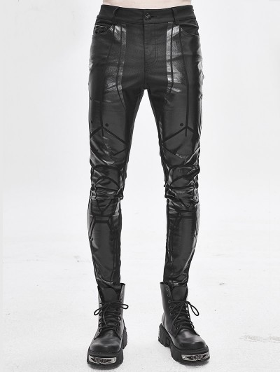 Devil Fashion Black Gothic Punk Dark Patterned Suit Trousers for Men