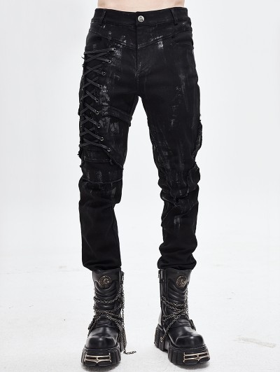 Devil Fashion Black Gothic Punk Slim Long Pants for Men