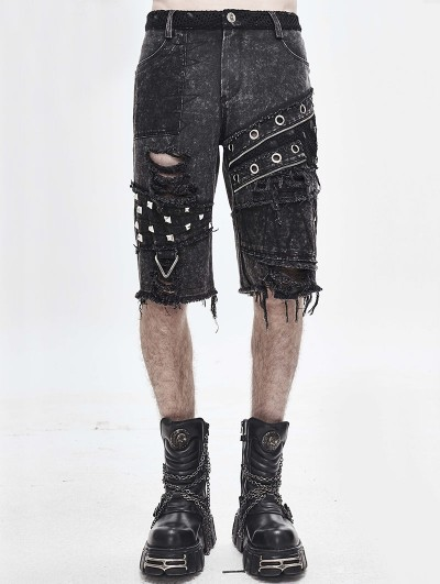 Devil Fashion Gothic Punk Rock Rivet Short Jeans for Men