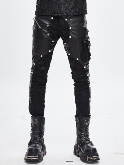 Devil Fashion Black Gothic Punk Rock Rivet PU Leather Pants for Men