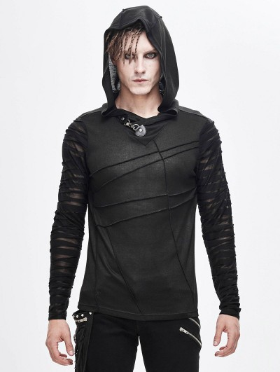 Devil Fashion Black Gothic Punk Long Sleeve Hooded T-Shirt for Men