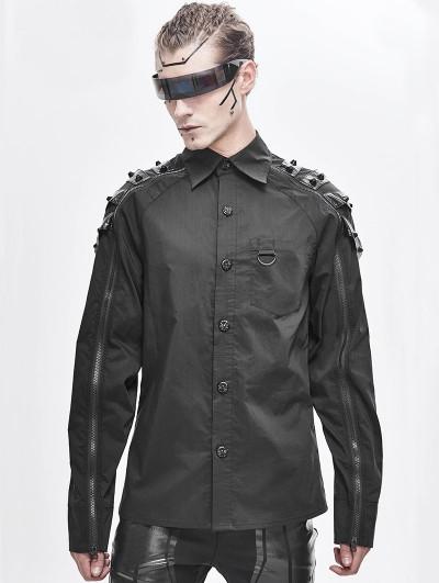 Devil Fashion Black Gothic Punk Rivet Long Sleeve Shirt for Men