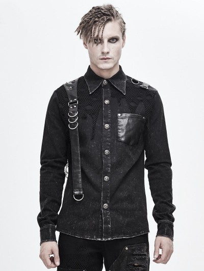 Devil Fashion Black Gothic Punk Do Old Denim Long Sleeve Shirt for Men