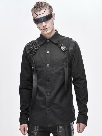 Devil Fashion Black Gothic Punk Long Sleeve Shirt for Men