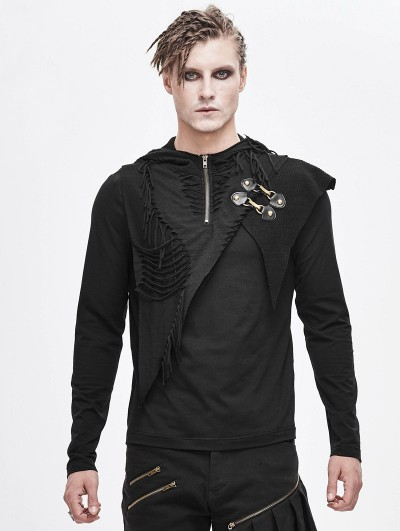 Devil Fashion Black Gothic Punk Long Sleeve Hooded T-Shirt for Men