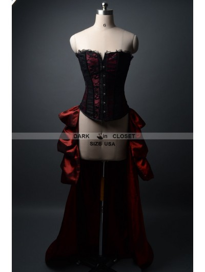 Wine Red and Black Fashion Gothic Burlesque Corset Party Dress