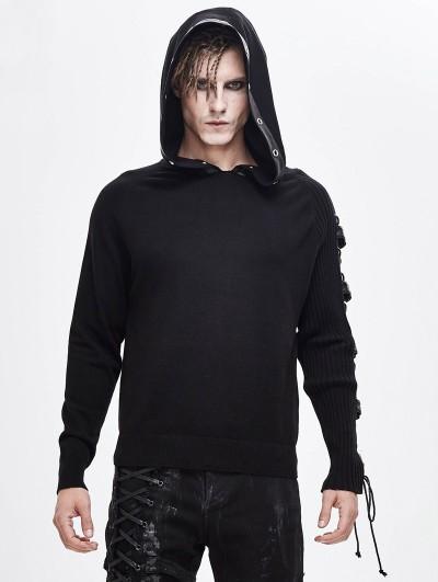 Devil Fashion Black Gothic Punk Long Sleeve Hooded Sweater for Men
