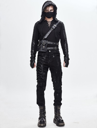 Devil Fashion Black Gothic Punk Harness Belt with Bags for Men