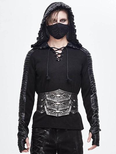 Devil Fashion Black Gothic Punk Heavy Metal Buckle PU Leather Waistband for Men