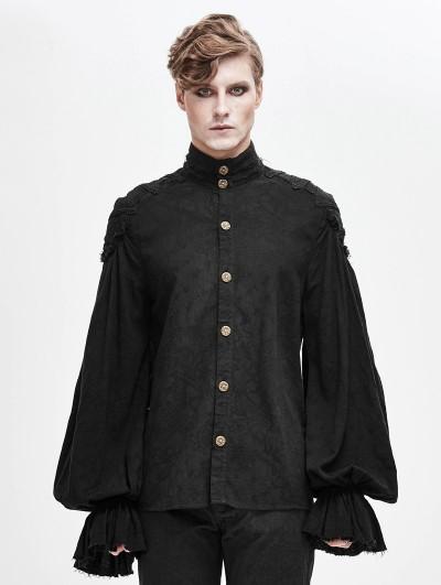 Devil Fashion Black Gothic Vintage Jacquard Long Lantern Sleeve Shirt for Men