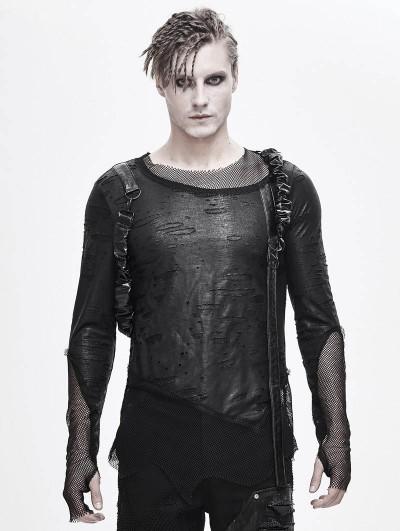 Devil Fashion Black Gothic Punk Irregular Long Sleeve Belt T-Shirt for Men