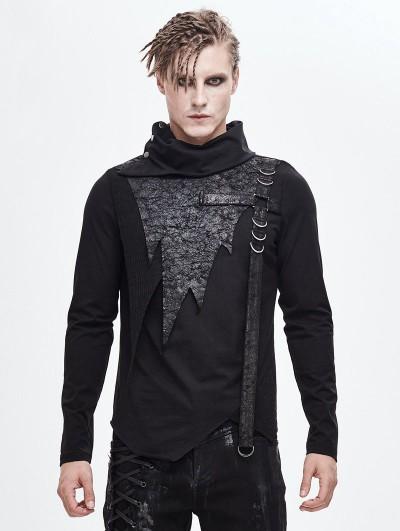 Devil Fashion Black Gothic Punk High Neck Long Sleeve Irregular T-Shirt for Men