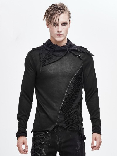 Devil Fashion Black Gothic Punk Irregular Long Sleeve T-Shirt for Men