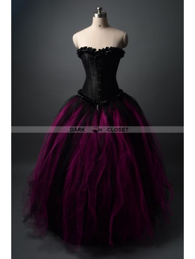 Black and Fuchsia Gothic Corset Prom Party Dress