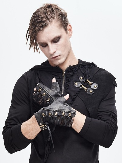 Devil Fashion Black Gothic Steampunk PU Leather Gloves for Men