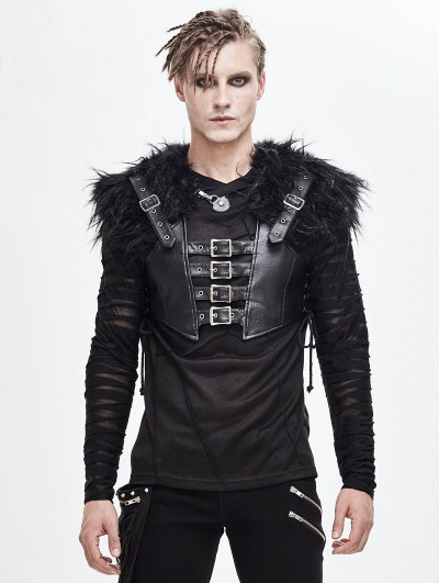 Devil Fashion Black Gothic Punk PU Leather Faux Fur Cape for Men