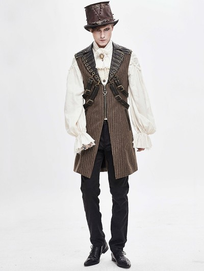 Devil Fashion Brown Gothic Steampunk Striped Long Vest for Men