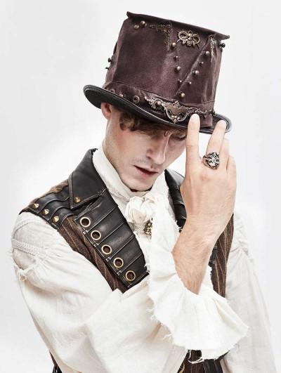 Devil Fashion Brown Retro Steampunk Rivet Hat
