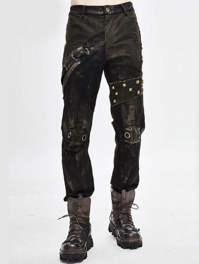 Devil Fashion Brown Gothic Punk Do Old Style Rivets Trousers for Men