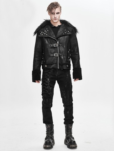 Devil Fashion Black Gothic Punk Rock Short Winter Jacket for Men