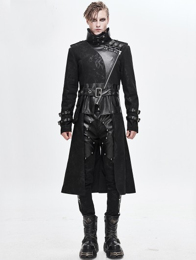 Devil Fashion Black Gothic Punk Military Uniform Long Jacker for Men