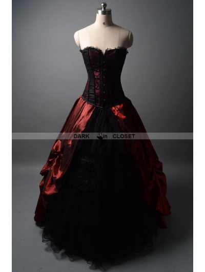 Wine Red and Black Gothic Corset Prom Ball Gown