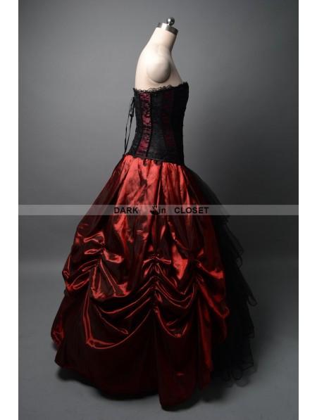 c68fa5e6f4 Wine Red and Black Gothic Corset Prom Ball Gown - DarkinCloset.com