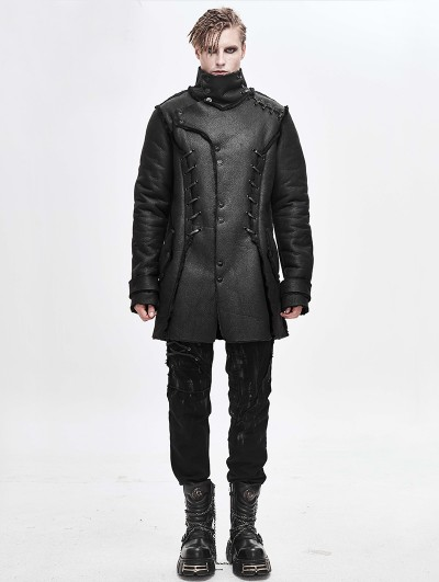 Devil Fashion Black Gothic Simple Winter Warm Coat for Men