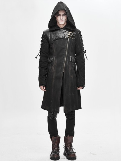Devil Fashion Black Gothic Punk Military Uniform Hooded Long Coat for Men