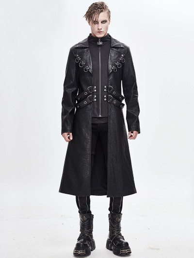 Devil Fashion Black Gothic Punk Military Long Coat for Men