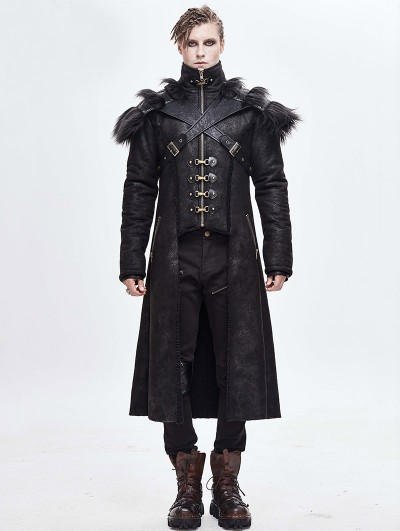 Devil Fashion Black Gothic Punk Winter Warm Long Coat for Men
