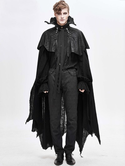 Devil Fashion Black Halloween Gothic Vampire Irregular Long Cape for Men