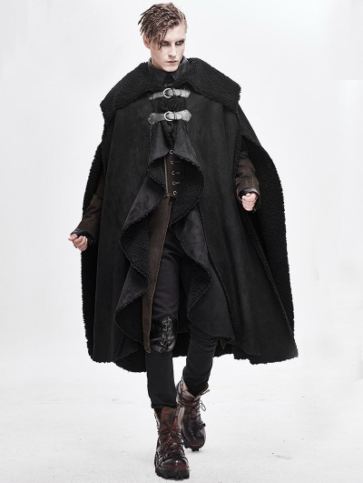 Devil Fashion Black Gothic Irregular Winter Warm Long Cape for Men