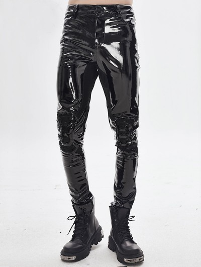 Devil Fashion Black Gothic Punk Latex Long Pants for Men