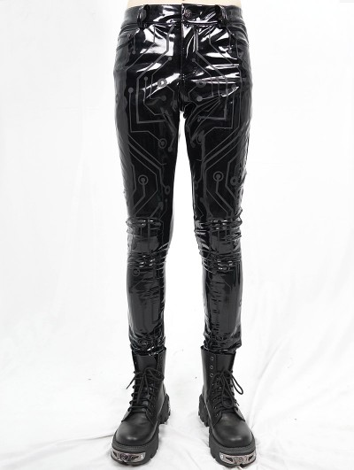 Devil Fashion Black Gothic Punk Slim Latex Long Pants for Men