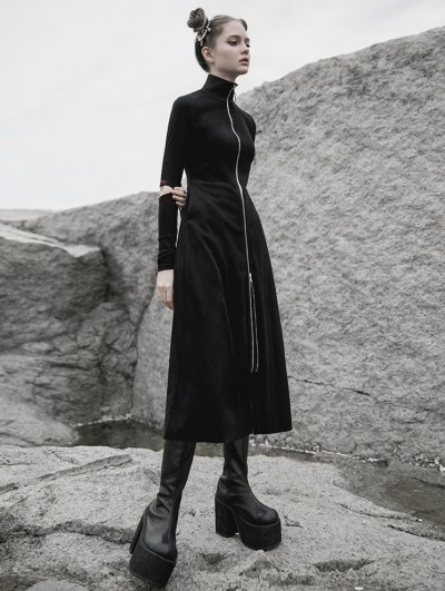 Punk Rave Black Street Fashion Gothic Grunge Slim Casual Long Trench Coat for Women