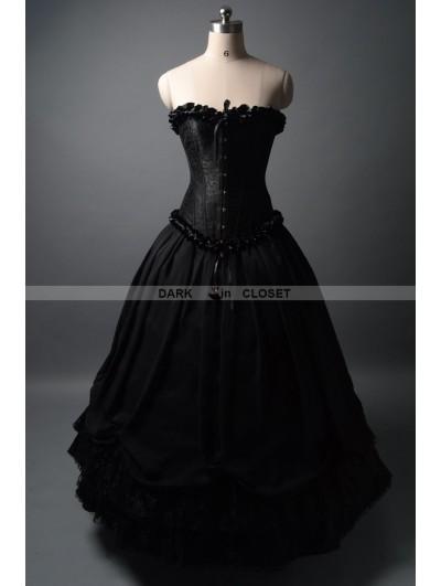 Dark Black Romantic Gothic Corset Prom Ball Gown
