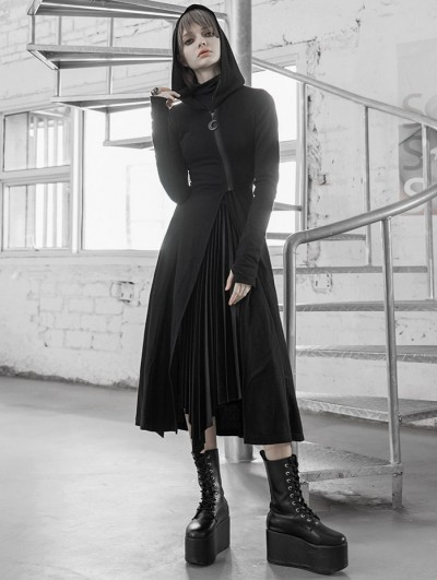 Punk Rave Black Street Fashion Gothic Grunge Slit Casual Long Hooded Trench Coat for Women