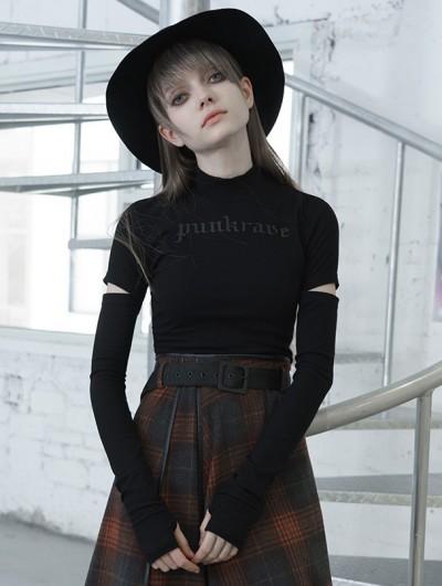 Punk Rave Black Street Fashion Gothic Grunge Long Sleeve Casual T-Shirt for Women