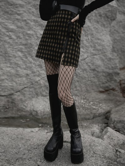 Punk Rave Coffee Plaid Street Fashion Gothic Grunge Casual Slit A-Line Short Skirt