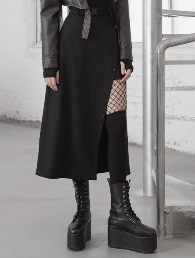Punk Rave Black Street Fashion Gothic Grunge Slit Irregular Casual Long Skirt