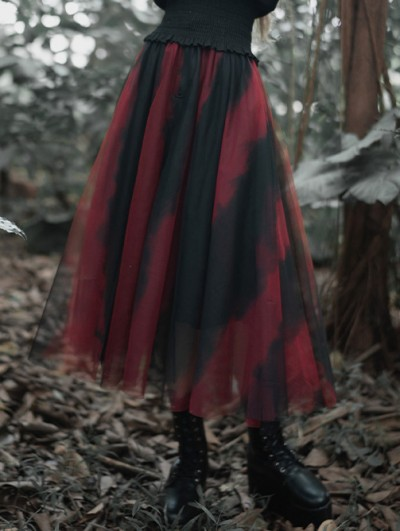 Punk Rave Black and Red Street Fashion Gothic Grunge Casual Long Tulle Skirt