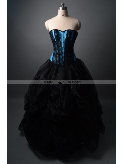Black and Blue Fashion Gothic Burlesque Corset Prom Party Gown
