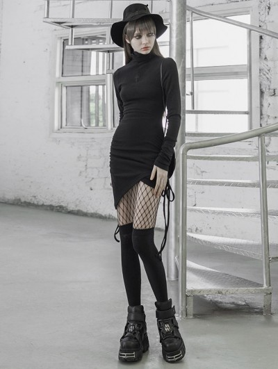Punk Rave Black Street Fashion Gothic Grunge Irregular Slim Sexy Casual Short Dress