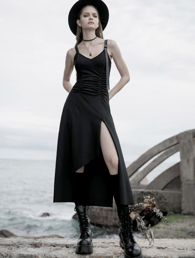 Punk Rave Black Street Fashion Gothic Grunge Split Sleeveless Long Casual Dress