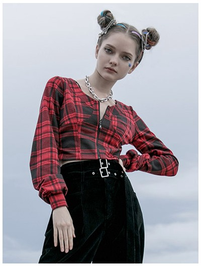 Punk Rave Red Plaid Street Fashion Gothic Grunge Short Top for Women